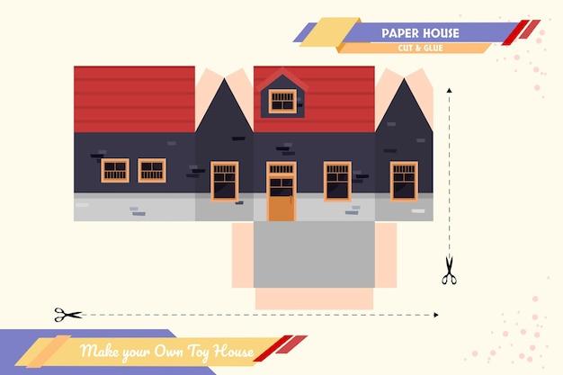 Crea il tuo modello di assemblaggio vettoriale di carta artigianale per la casa dei giocattoli adatto a molteplici scopi