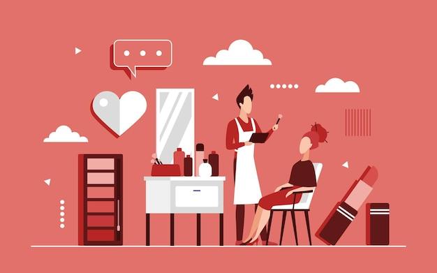 Concetto di trucco con procedura di bellezza alla moda nel salone moderno