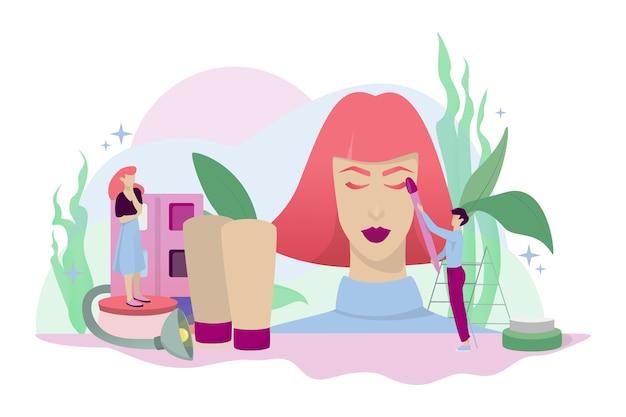 Concetto di trucco. donna sulla procedura di bellezza, applicando cosmetici sul viso. illustrazione in stile cartone animato Vettore Premium
