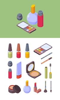 Cosmetico per il trucco. articoli per la bellezza delle donne colorate palette trucco rossetto ombre matite sgargianti illustrazioni vettoriali isometriche. trucco isometrico glamour, palette di eleganza alla moda e pomata