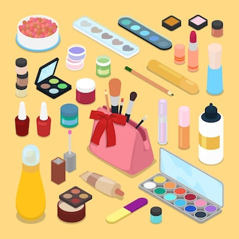 Illustrazioni di prodotti cosmetici per il trucco