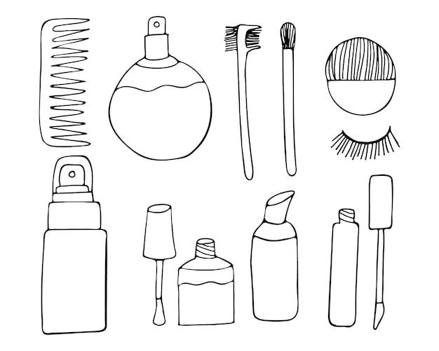 Collezione di icone di doodle di trucco nel vettore. collezioni di icone di trucco disegnate a mano.