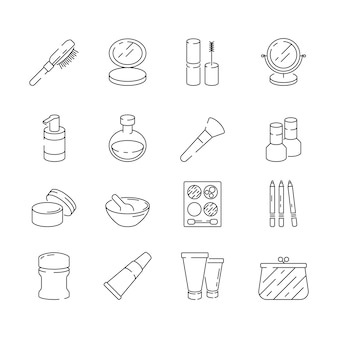 Icone di trucco. simboli di sottile linea di donna bellezza cosmetici lozione crema gel unghie rossetto vettore linea sottile