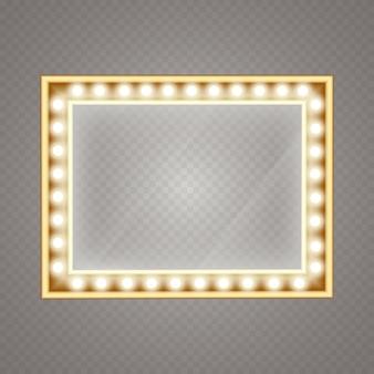 Specchio per il trucco isolato con luci dorate. camerino dell'artista. specchio per il trucco