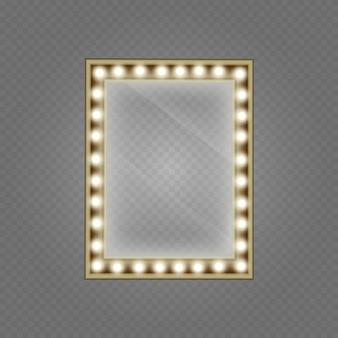 Specchio per il trucco isolato con luci dorate. specchio in cornice con luci trucco leggero per spogliatoio