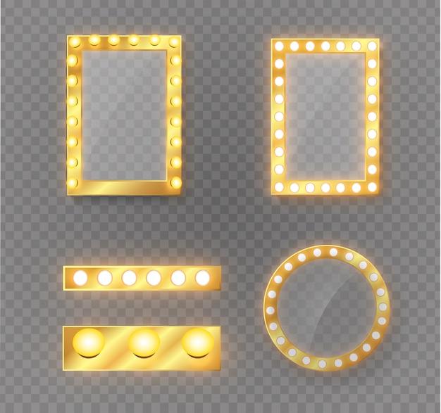 Specchio per il trucco isolato con luci dorate.