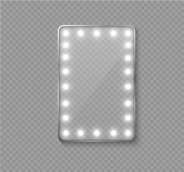 Specchio per il trucco isolato con luci bianche.