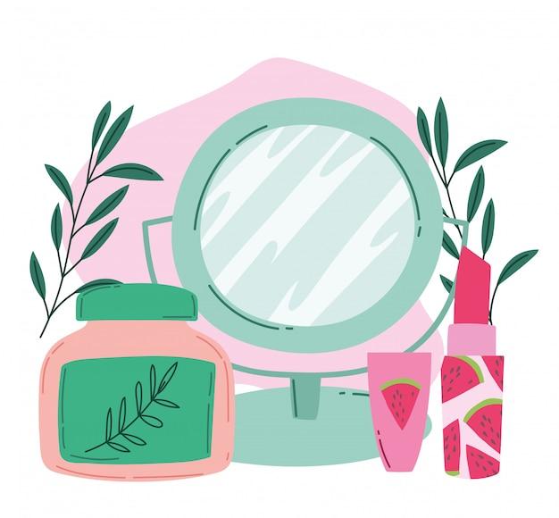 Trucco prodotto moda bellezza specchio rossetto e idratazione crema cosmetica illustrazione