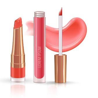 Set trucco per labbra con rossetto liquido realistico crema striscio realistico