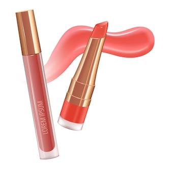 Set trucco per labbra con rossetto liquido realistico con striscio di crema realistico