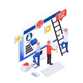 Creazione di contenuti per l'icona isometrica dei social media con monitor del computer e personaggi al lavoro 3d