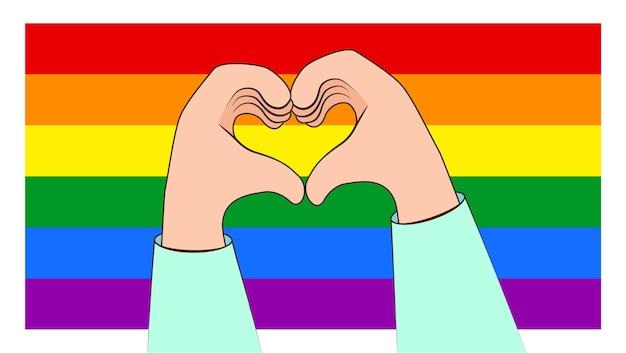 Fare cuore con le mani su uno sfondo di bandiera arcobaleno lgbt. concetto di orgoglio lgbt