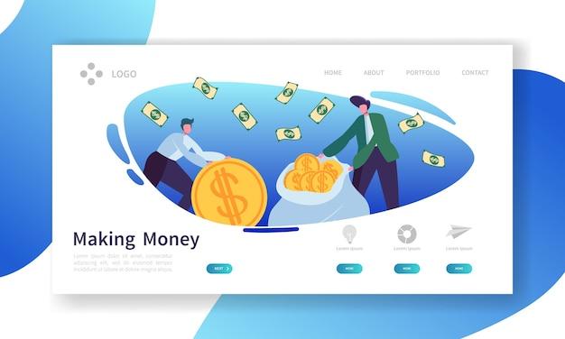 Pagina di destinazione per fare soldi. banner di investimento aziendale con personaggi di persone risparmio di denaro modello di sito web.