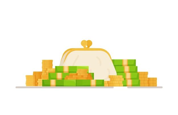 Guadagnare sul lavoro. portafoglio con penny. pagamento in contanti. shopping, merci, contanti, portafoglio. illustrazione.