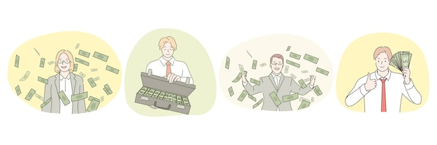 Fare profitto, successo, gente ricca, alto stipendio, concetto di uomo d'affari.