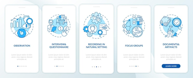 Creazione di record nella schermata della pagina dell'app mobile onboarding in ambiente naturale con concetti