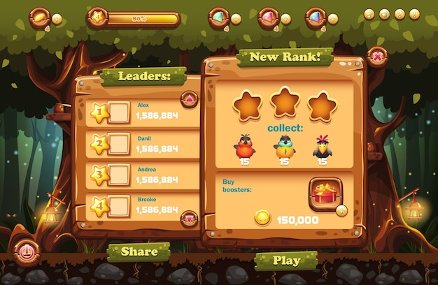 Rendere lo schermo della foresta magica del gioco per computer con windows leader