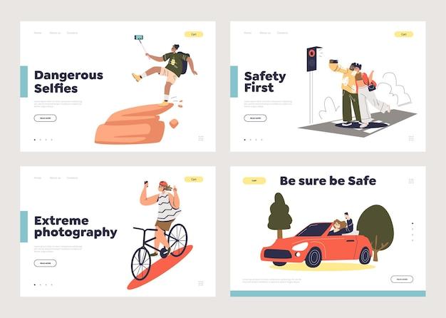 Fare selfie e concetto di pericolo di vita del set di pagine di destinazione del modello del fumetto
