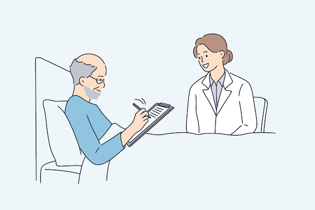 Fare testamento e approvazione per il concetto di operazione. vecchio uomo malato sorridente seduto a letto che firma volontà o approvazione in ospedale con un infermiere medico seduto vicino illustrazione vettoriale