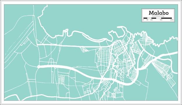 Mappa della città di malabo guinea equatoriale in stile retrò. mappa di contorno. illustrazione di vettore.
