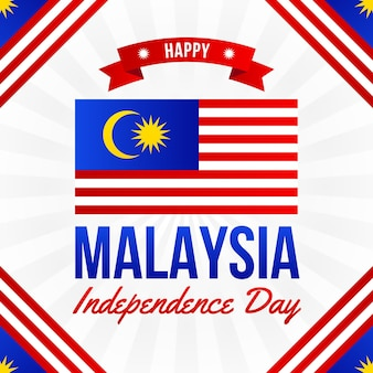 Giorno della malesia con bandiera