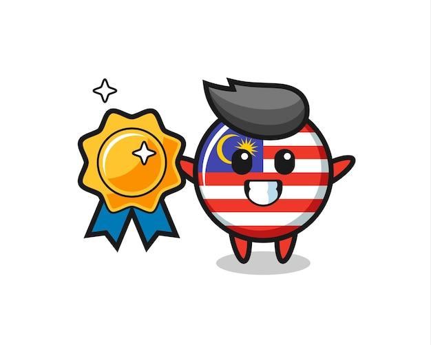 Illustrazione della mascotte del distintivo della bandiera della malesia che tiene un distintivo dorato, design in stile carino per maglietta, adesivo, elemento logo