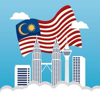 Bandiera della malesia e punti di riferimento degli edifici