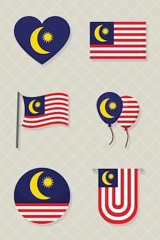 Progettazione stabilita dell'icona delle bandiere della malesia