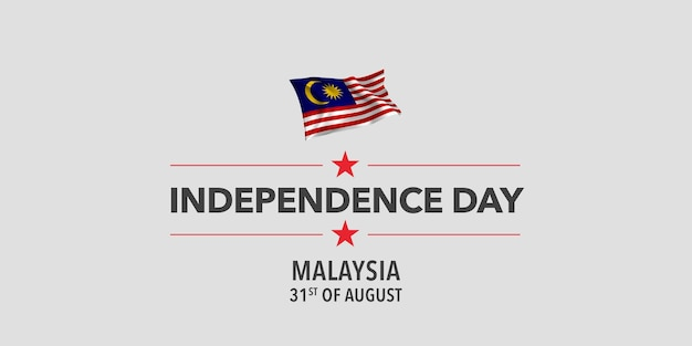 Illustrazione di vettore dell'insegna della cartolina d'auguri del giorno dell'indipendenza felice della malesia