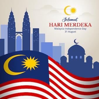 Fondo di festa dell'indipendenza della malesia con la vista della città e dell'illustrazione del punto di riferimento