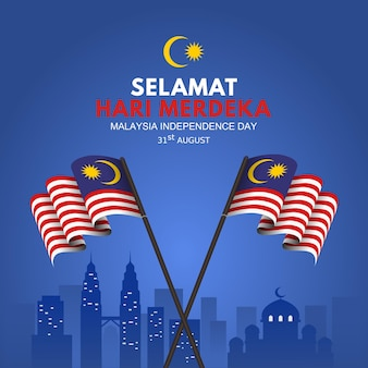 Sfondo di festa dell'indipendenza della malesia con bandiera sventolante sul bastone e vista dei punti di riferimento Vettore Premium