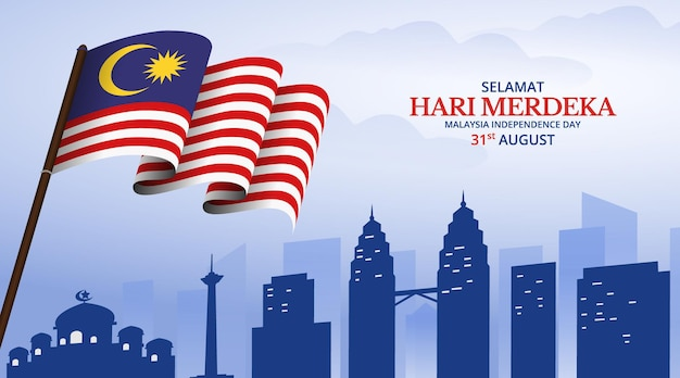 Sfondo di festa dell'indipendenza della malesia con bandiera sventolante sul bastone e vista dei punti di riferimento