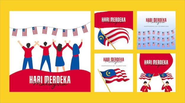 Modello di banner per il giorno dell'indipendenza della malesia