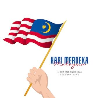 Giorno dell'indipendenza della malesia modello di progettazione di banner per le celebrazioni della festa nazionale della malesia