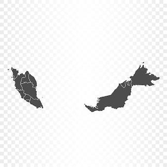 Mappa della malesia su sfondo trasparente