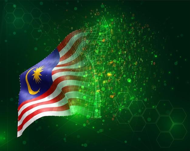 Malesia, vettore 3d bandiera su sfondo verde con poligoni e numeri di dati