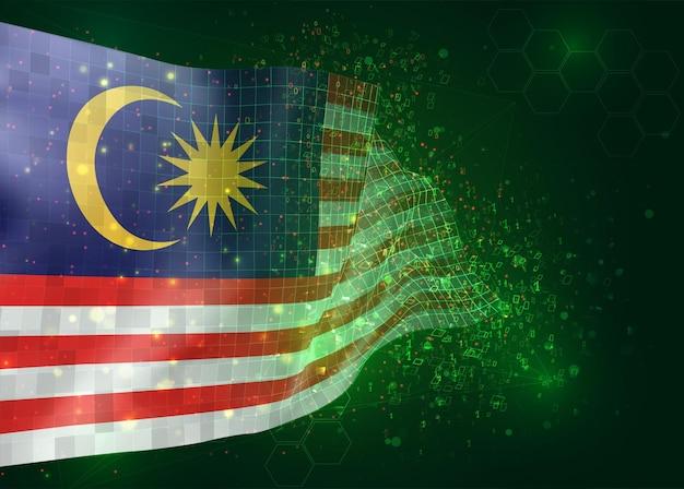 Malesia, sul vettore 3d bandiera su sfondo verde con poligoni e numeri di dati