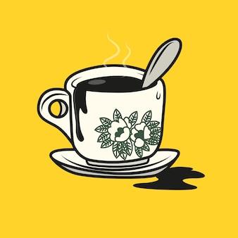 Caffè nero in stile malese con cucchiaino da tè