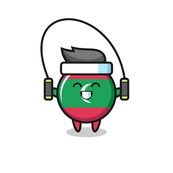 Fumetto del carattere del distintivo della bandiera delle maldive con la corda per saltare, design carino