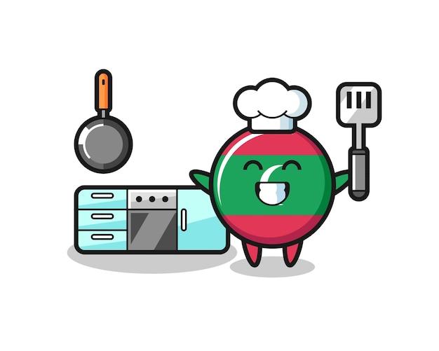 Illustrazione del carattere del distintivo della bandiera delle maldive mentre uno chef sta cucinando, design carino