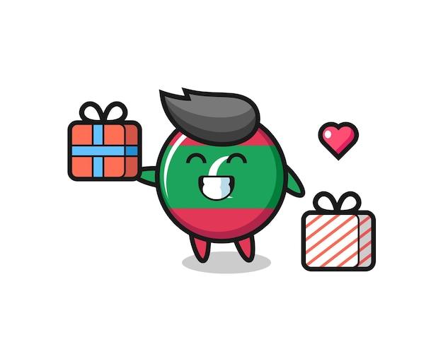 Fumetto della mascotte del distintivo della bandiera delle maldive che fa il regalo, design carino