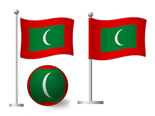 Bandiera delle maldive sull'icona palo e palla