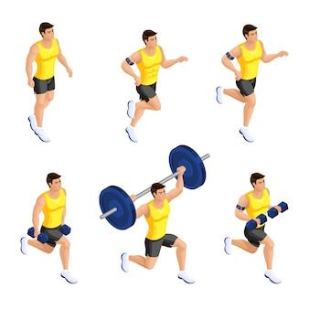 Atleta maschio durante l'allenamento in palestra, manubri, bilanciere, corsa, squat, affondi, stile di vita sano