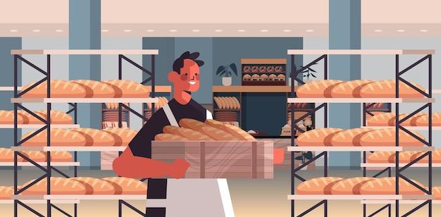 Panettiere maschio in uniforme che tiene baguette prodotti da forno cottura fabbricazione concetto ritratto illustrazione vettoriale orizzontale
