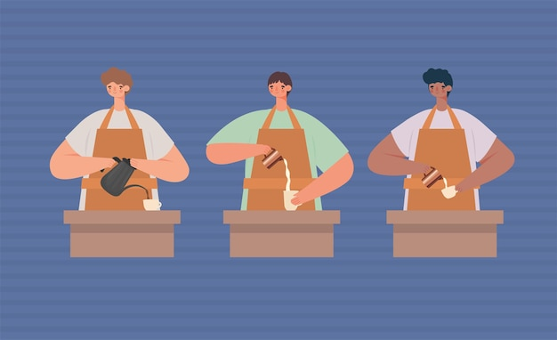 Gruppo di baristi maschili