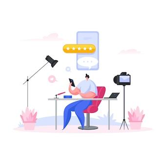 Blogger maschio che esamina dispositivi e app. illustrazione di persone dei cartoni animati