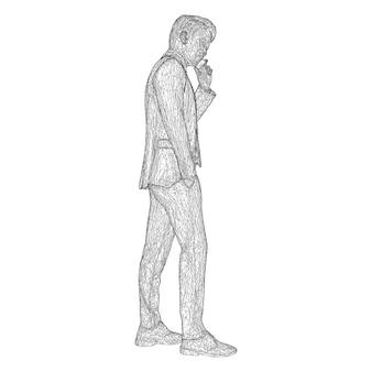 Uomo d'affari maschio in giacca e cravatta in piedi e parlando al telefono inclinando leggermente la testa
