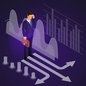 Uomo d'affari maschio in piedi all'incrocio, meditazioni, pensiero, pensa l'uomo, vestito costoso, brainstorming. set di illustrazione 2