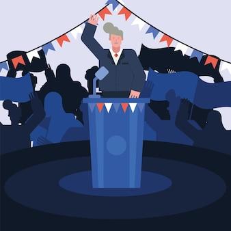 Candidato maschio che dà progettazione dell'illustrazione di vettore di giorno delle elezioni di discorso