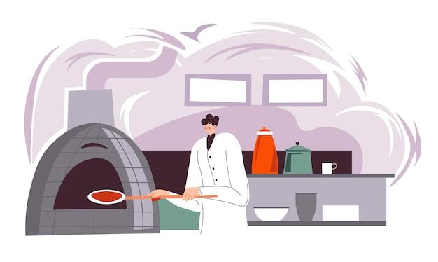 Personaggio maschile che cuoce la pizza italiana tradizionale nella cucina del ristorante, bistrot o tavola calda. lo chef prepara il pasto da asporto. produzione di cibi pastosi e deliziosa pasticceria. vettore in stile piatto